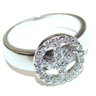 Fancy White Topaz .925 Sterling Silver handmade Ring s. 10