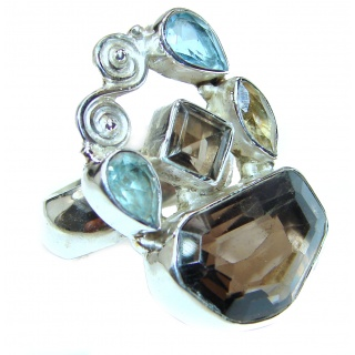 Fantastic Colorful Multistone .925 Sterling Silver Ring s. 7