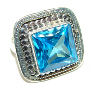 Melissa Genuine Swiss Blue Topaz .925 Sterling Silver handcrafted Statement Ring size 5 1/2