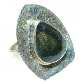 New Age Black Rutilated Quartz Sterling Silver ring s. 8