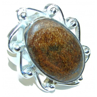 Great Pyrite Jasper Sterling Silver Ring s. 11