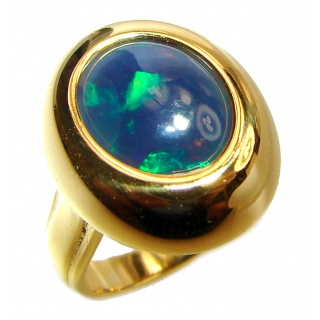 Rich Design 5ctw Genuine Black Opal 18K Gold over .925 Sterling Silver handmade Ring size 4 1/2