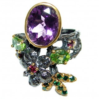 24ctw Purple Perfection Amethyst Black Rhodium over .925 Sterling Silver Ring size 8