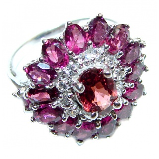 Floral Natural Red Garnet & .925 Sterling Silver handcrafted ring size 5 1/2