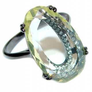 Cool Meadow faceted Lemon Topaz Sterling Silver ring s. 8