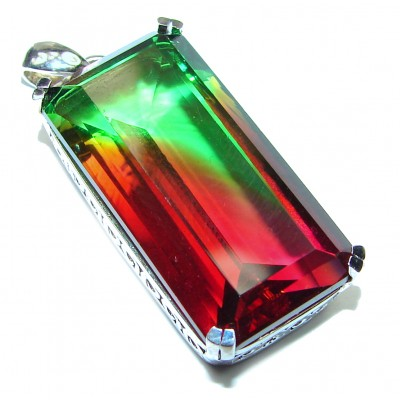 Deluxe Baguette cut Tourmaline .925 Sterling Silver handmade Pendant