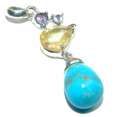 Sleeping Beauty Turquoise .925 Sterling Silver handmade Pendant