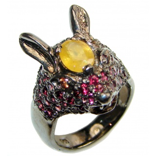 Chunky Rabbit Authentic yellow Sapphire 14K Gold over .925 Sterling Silver handmade Ring s. 8 1/2