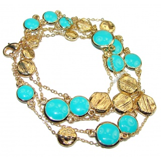 Gold over Sterling Silver Turquoise 38 inches Long Station Necklace