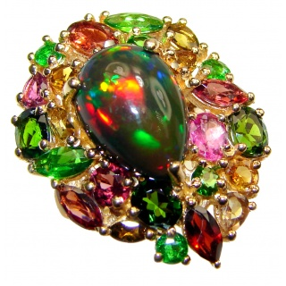 Incredible natural Fire Black Opal 18K Gold over .925 Sterling Silver handcrafted ring size 6 1/4
