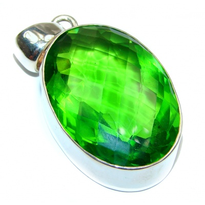 Large Green Quartz .925 Sterling Silver handcrafted pendant