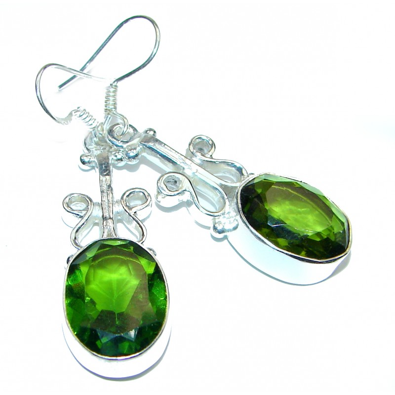 Mystic Fresh green Quartz .925 Sterling Silver earrings