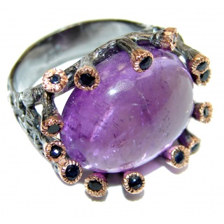 Purple Perfection Amethyst black rhodium over .925 Sterling Silver Ring size 8 1/2
