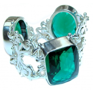 Over-sized Incredible Green Quartz .925 Sterling Silver Bracelet