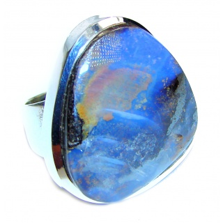 Best quality Australian Boulder Opal .925 Sterling Silver handcrafted ring size 7