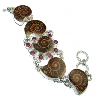 Huge Fantastic Brown Ammonite Fossil .925 Sterling Silver handcrafted Bracelet