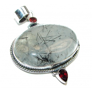 Incredible quality Silky Black Rutilated Quartz .925 Sterling Silver handmade Pendant
