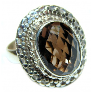 Very Bold Champagne Smoky Topaz Ruby .925 Sterling Silver Ring size 7