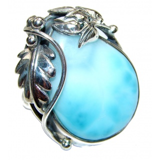 Aqua Natural Dominican Republic Larimar .925 Sterling Silver handcrafted Ring s. 9 adjustable