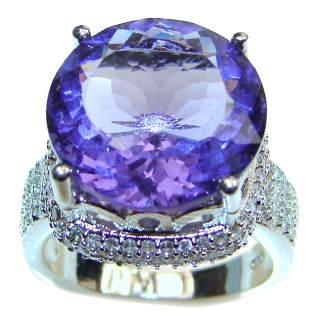 Huge Precious Alexandrite .925 Sterling Silver Statement HUGE Ring s. 7