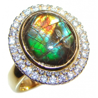 Pure Energy Genuine Canadian Ammolite 18K Rose Gold over .925 Sterling Silver handmade ring size 6