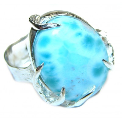 Aqua Natural Dominican Republic Larimar .925 Sterling Silver handcrafted Ring s. 9 1/2