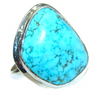 Great quality Blue Turquoise .925 Sterling Silver handcrafted Ring size 10
