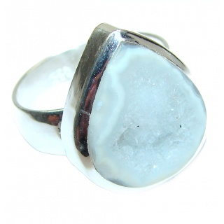 Huge Exotic Druzy Agate Sterling Silver Ring s. 7 1/2