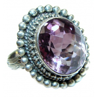 Purple Perfection Amethyst .925 Sterling Silver Ring size 8 adjustable