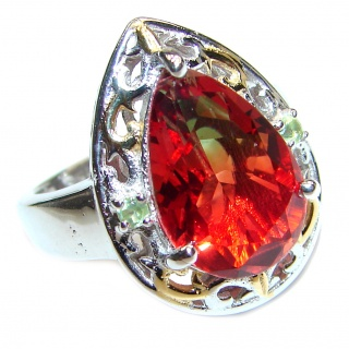 HUGE pear cut Pink Tourmaline 18K Gold over .925 Sterling Silver handcrafted Ring s. 7