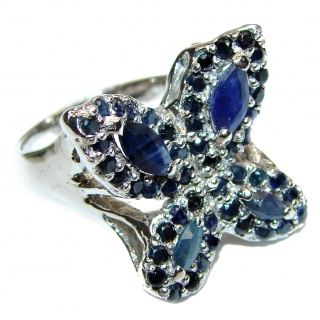 Sublime Butterfly authentic Sapphire .925 Sterling Silver handmade Ring s. 8 1/2