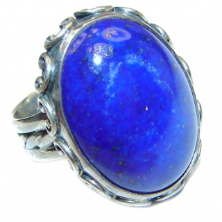 LARGE Natural Lapis Lazuli .925 Sterling Silver handcrafted ring size 5