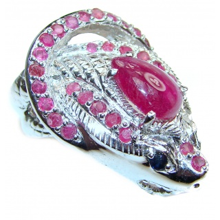 Large Cobra gebuine Ruby .925 Sterling Silver handcrafted Statement Ring size 10