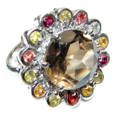 Very Bold Champagne Smoky Topaz .925 Sterling Silver Ring size 7 1/2