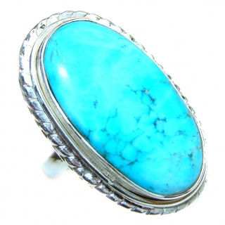 Great quality Blue Turquoise .925 Sterling Silver handcrafted Ring size 7 1/2