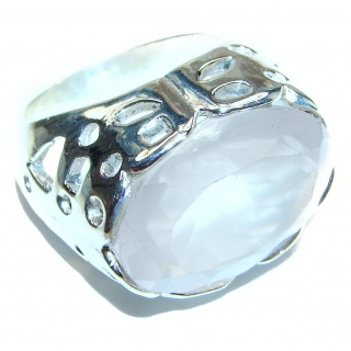 Rose Quartz Rose .925 Sterling Silver brilliantly handcrafted ring s. 7