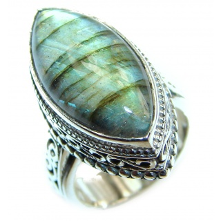 Silky Fire Labradorite 2 tones .925 Sterling Silver handmade ring size 6