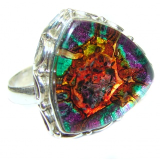 Dichroic Glass .925 Sterling Silver handcrafted Ring s. 11 1/2