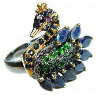 Large Genuine 25ctw Sapphire .925 Sterling Silver handcrafted Statement Ring size 8 3/4