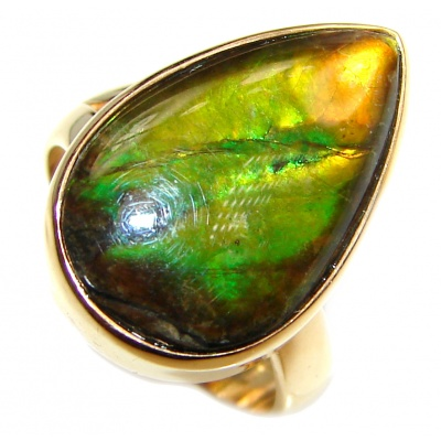 Genuine Canadian Ammolite .925 Sterling Silver handcrafted Statement Ring size 7 adjustable