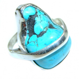 Great quality Turquoise .925 Sterling Silver handcrafted Ring size 10