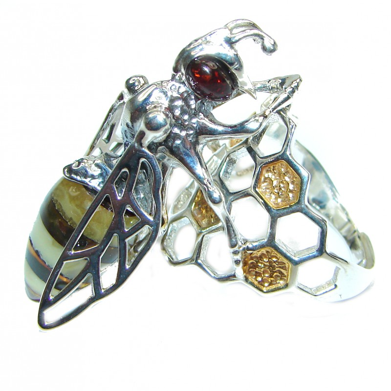 Masterpiece Honey Bee Baltic Polish Amber .925 Sterling Silver handcrafted HUGE ring; s 8 adjustable