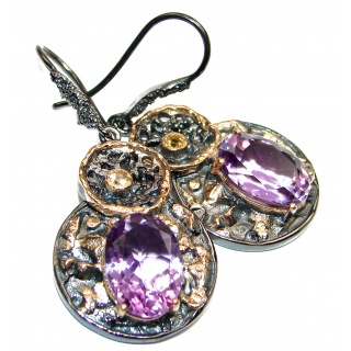 Heather Valley Amethyst .925 Sterling Silver handcrafted bohemian style earrings