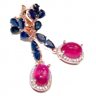 Incredible Authentic Ruby Sapphire rose gold over .925 Sterling Silver handmade earrings