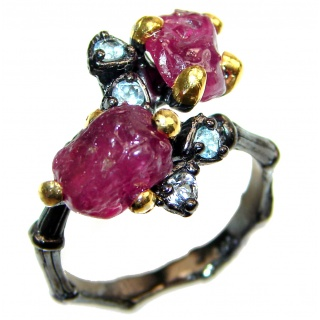 Authentic Rough Ruby black rhodium over 2 tones .925 Sterling Silver Ring size 8 1/4