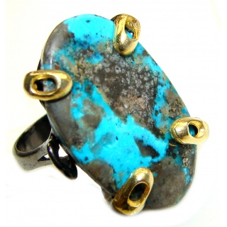 Massive natural Turquoise 2 Tones .925 Sterling Silver ring; s. 8 3/4