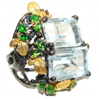 Oversized Fancy White Topaz Chrome Diopside .925 Sterling Silver handmade Ring s. 8