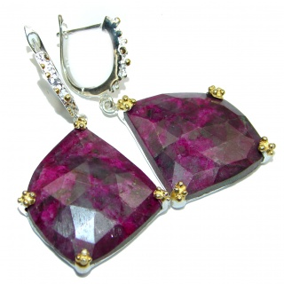 Stunning Authentic Ruby Amethyst 2 tones .925 Sterling Silver handmade earrings