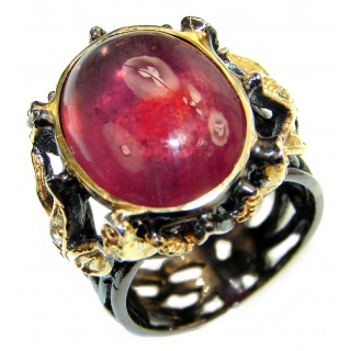 Genuine 45 ctw Star Ruby .925 Sterling Silver handcrafted Statement Ring size 7
