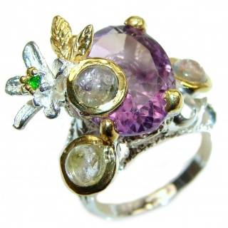 Purple Perfection Amethyst Rutilated quartz .925 Sterling Silver Ring size 7 1/4